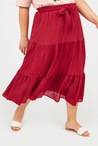Textured Midi Skirt with Elasticised Waistband and Tie Ups