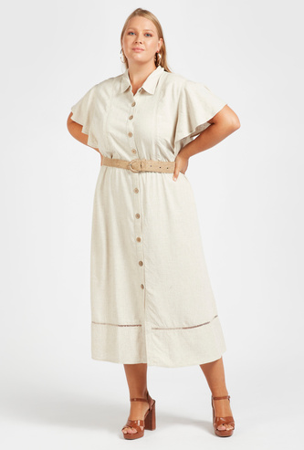 Solid Midi Shirt Dress with Spread Collar and Flared Sleeves