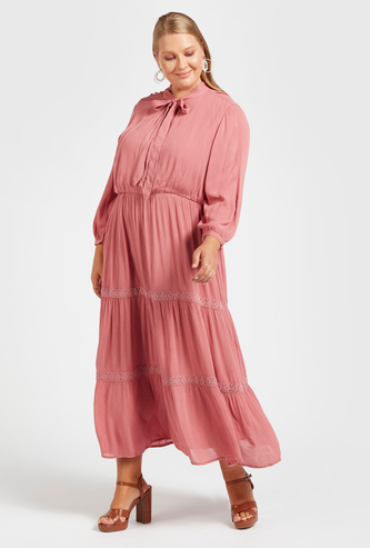 Solid Maxi Tiered Dress with Pussy Bow and 3/4 Sleeves