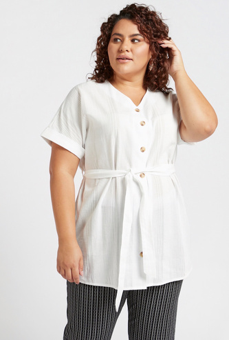 Textured Tunic with Short Sleeves and Tie-Ups