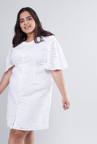 Cutwork Detail Mini Length Dress with Round Neck and Short Sleeves