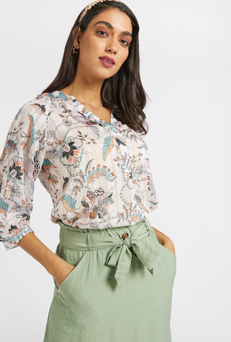 All-Over Printed Top with V-neck and 3/4 Sleeves
