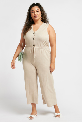 Solid Sleeveless Jumpsuit with Button Detail and V-neck