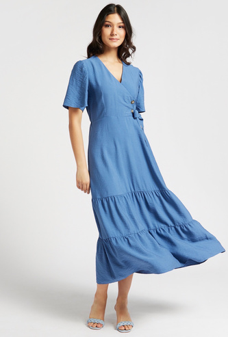 Solid Maxi Tiered Dress with Short Sleeves and Tie-Ups