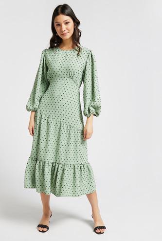 Polka Dots Print Midi Tiered Dress with Volume 3/4 Sleeves