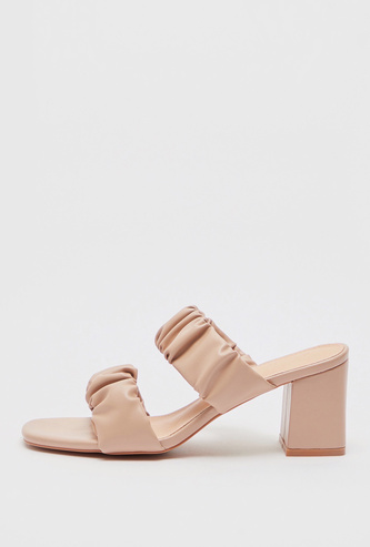 Double Ruched Strap Slip-On Sandals with Block Heels