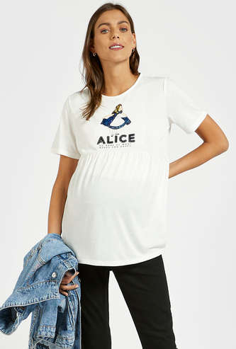 Alice in Wonderland Sequin Detail Maternity T-shirt with Short Sleeves