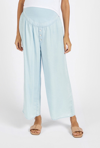 Solid Mid-Rise Maternity Palazzo Pants