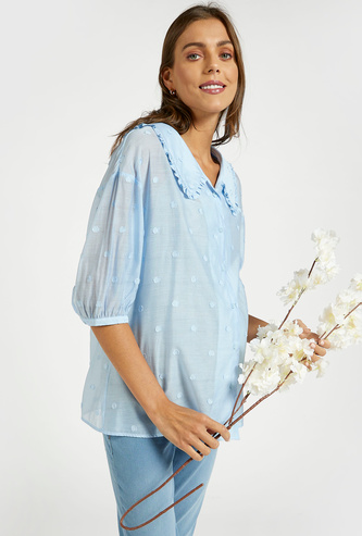 Textured Maternity Shirt with Spread Collar and 3/4 Sleeves
