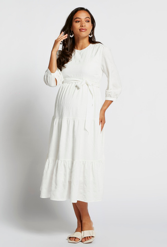 Textured Maternity Tiered Dress with 3/4 Sleeves and Tie-Up