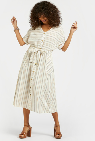 Striped Midi A-line Dress with Short Sleeves and Tie-Ups