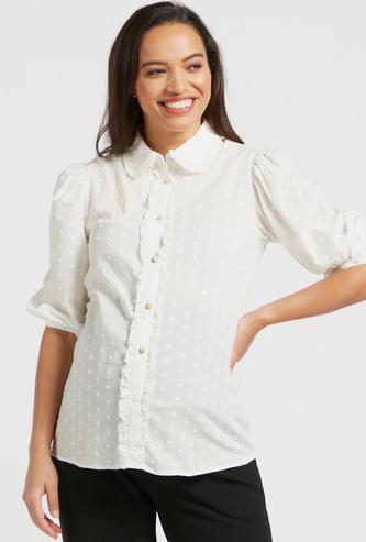 قميص بارز الملمس للحوامل بياقة عادية وأكمام قصيرة