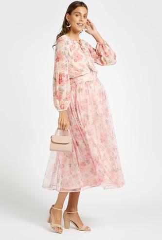 تنورة ميدي إيه لاين للحوامل مع خصر شبه مطاطي وطبعات أزهار