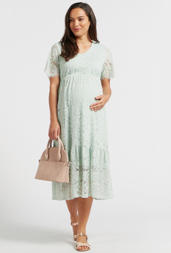 Lace Midi Tiered Maternity Dress with V-neck and Short Sleeves
