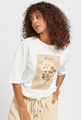 Graphic Print Round Neck Top with Corded Hem and Short Sleeeves