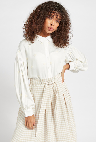 Embroidered Shirt with Long Sleeves and Button Closure