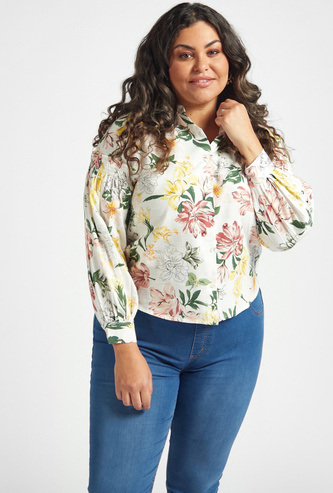 Floral Print Shirt with Long Sleeves and Button Closure