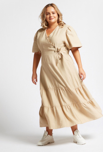 Solid Maxi Tiered Dress with V-neck and Tie-Ups