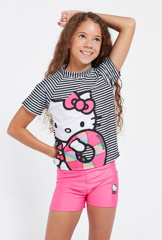 Hello Kitty Print Swimming T-shirt with Shorts