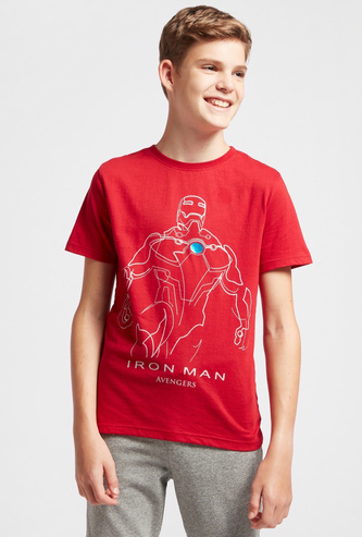 Iron Man Graphic Print T-shirt with Crew Neck and Short Sleeves