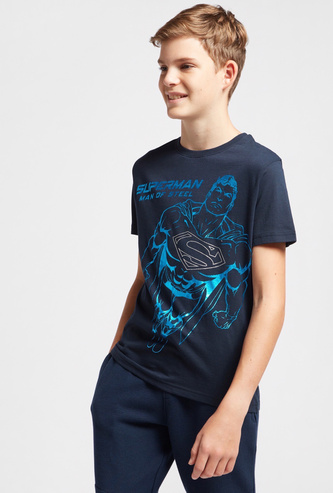 Superman Graphic Print T-shirt with Crew Neck and Short Sleeves