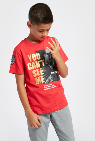 WWE John Cena Graphic Print T-shirt with Round Neck and Short Sleeves