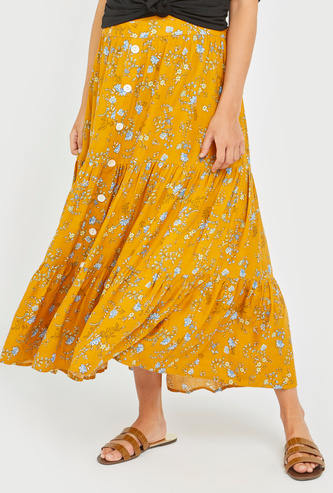 All-Over Print Maternity Tiered Skirt