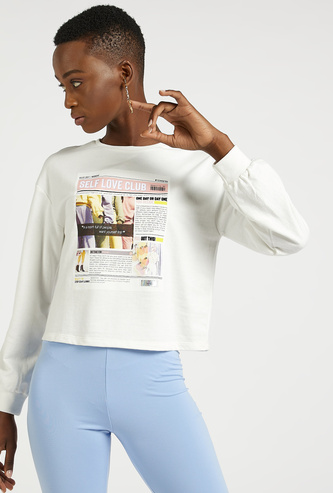Graphic Print Cropped Sweat Top with Round Neck and Long Sleeves