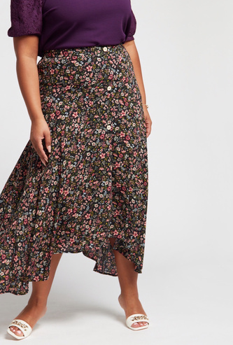 Floral Print Midi A-line Skirt with Asymmetric Hem