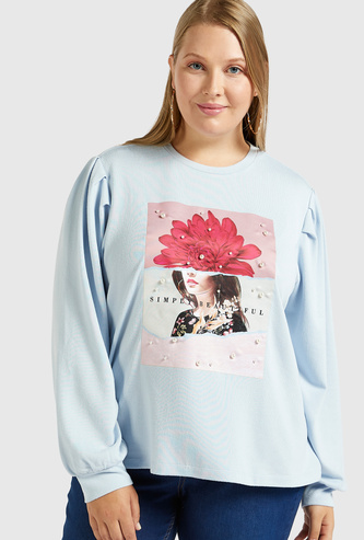 Graphic Print Sweatshirt with Long Sleeves and Pearl Detail