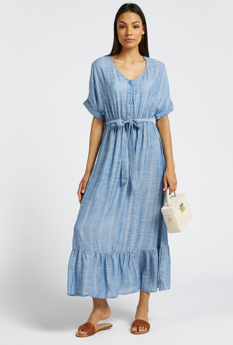Striped Maxi A-line Belted Dress with Short Sleeves