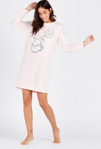قميص نوم بطبعات وياقة مستديرة وأكمام طويلة - تشكيلة كوزي