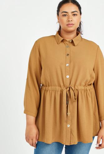 قميص طويل بارز الملمس بأربطة وأكمام طويلة