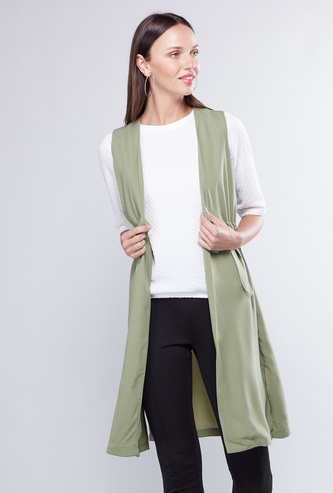 Solid Sleeveless Jacket with Waist Tie Up