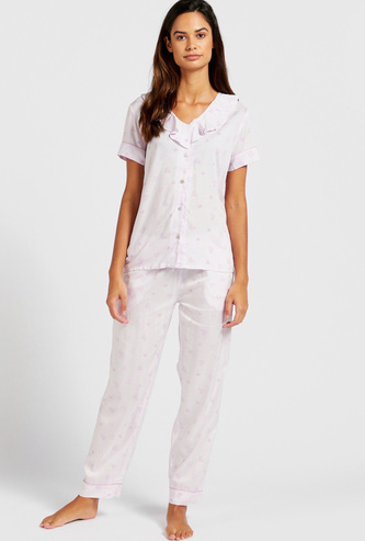 All-Over Heart Print Sleep Shirt and Pyjama Set