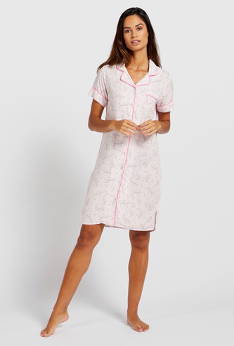 Floral Print Sleepshirt with Short Sleeves and Patch Pocket