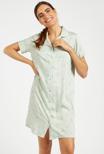 All-Over Print Sleepshirt with Spread Collar and Short Sleeves