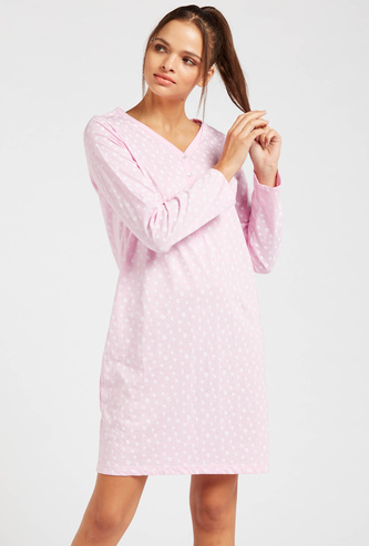 All-Over Print Sleep Dress with V-neck and Long Sleeves