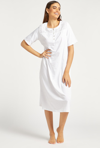 Textured Round Neck Sleep Gown with Short Sleeves and Button Closure