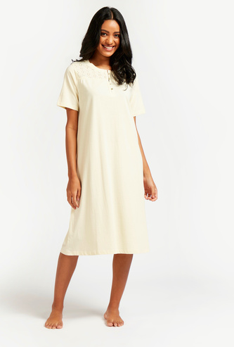 Solid Sleep Dress with Schiffli Detail and Short Sleeves
