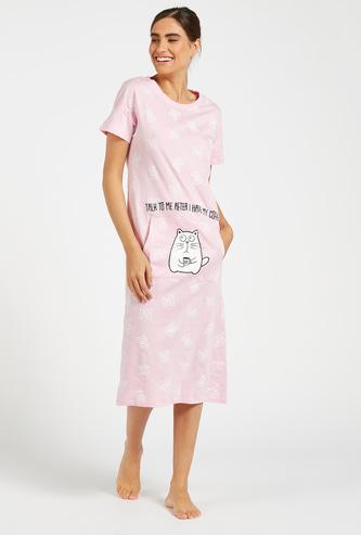 Printed Sleepshirt with Embroidery and Kangaroo Pockets