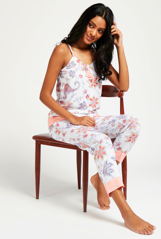 All-Over Floral Print Sleeveless Top and Full Length Pyjama Set