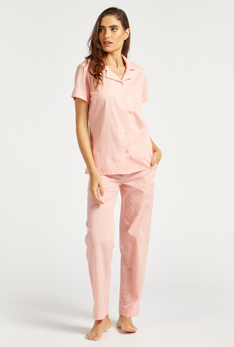 Textured Short Sleeves Shirt and Full Length Pyjama Set