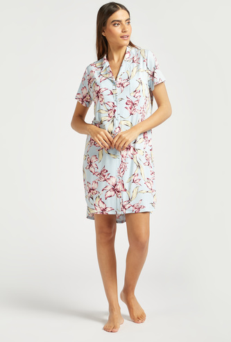 All-Over Floral Print Sleepshirt with Short Sleeves and Chest Pocket