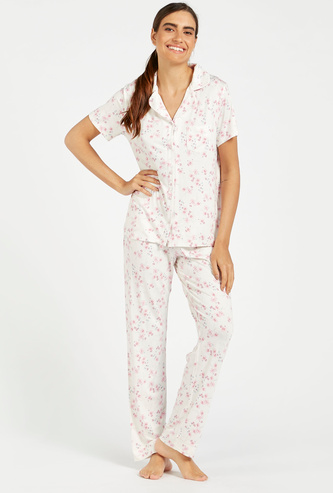 All-Over Floral Print Short Sleeves Sleepshirt and Pyjama Set