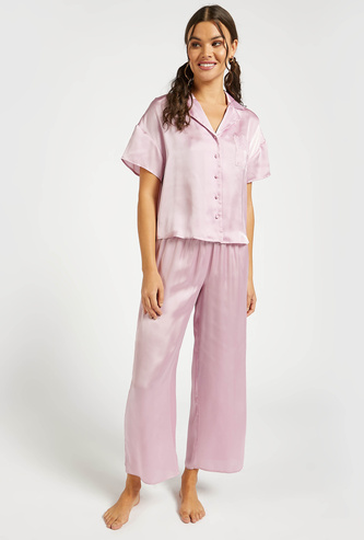Solid Short Sleeves Shirt and Full Length Pyjama Set