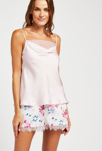 Lace Detail Cowl Neck Top with All-Over Print Shorts