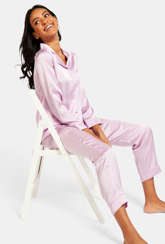 Solid Long Sleeves Sleepshirt and Pyjama Set