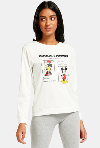 Mickey & Minnie Mouse Print Sweatshirt with Long Sleeves