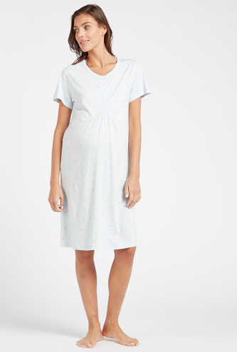 All-Over Print Maternity Sleep Dress with Round Neck and Short Sleeves